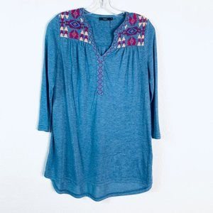 THML blue multi colored boho embroidered blouse
